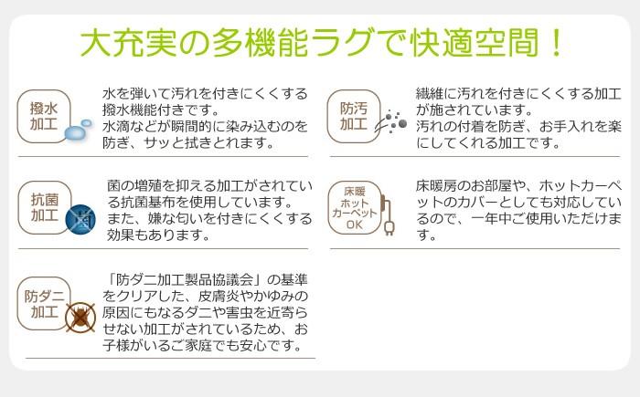 撥水・防汚・防ダニ・抗菌キッチンラグ長方形175×220cm