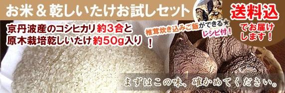 京丹波産お米&乾しいたけお試しセット!梱包込500gでなんと1000円送料込です。