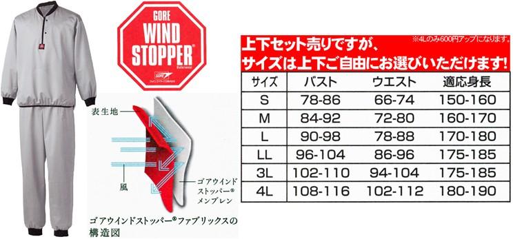 ゴアウィンドストッパー インナーウェア サイズ表