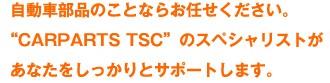 """自動車部品のことならお任せください。""""CARPARTS TSC""""のスペシャリストがあなたをしっかりとサポートします。"""