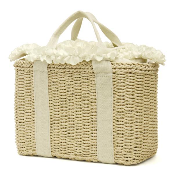 スクエアかごバッグ レディース レディス グログラン フリルリボン カゴバッグ トートバッグ インナーバッグ ケリー bag|carron|08