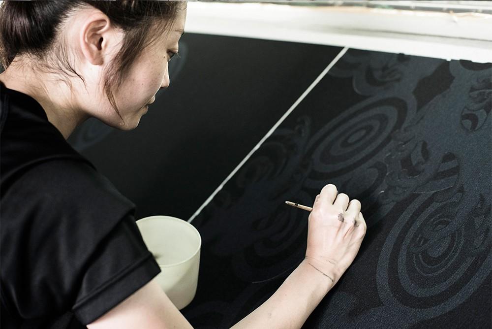 手捺染工房の風景