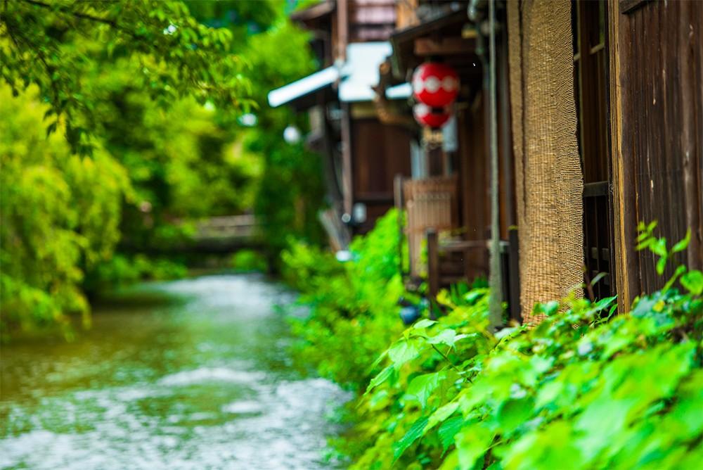 京都の川のある町並み
