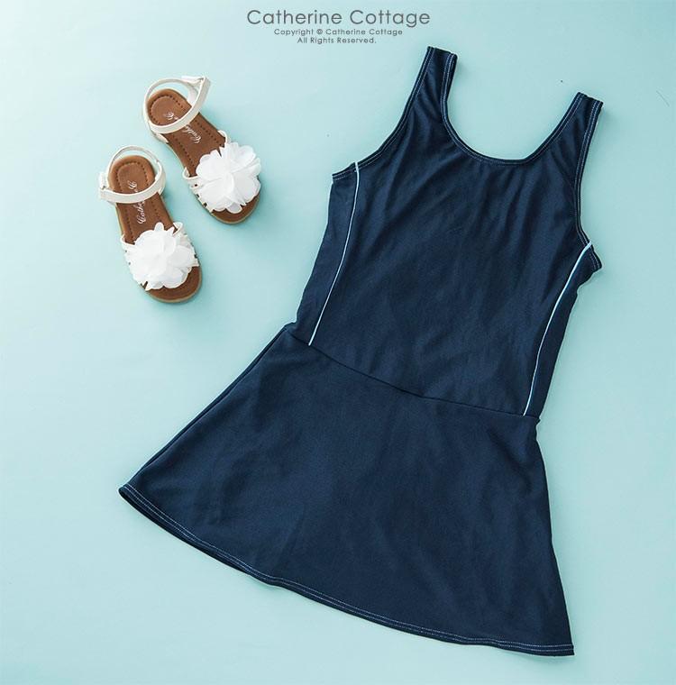 スクール水着 インナーパンツ付きワンピース(スカート型/キュロット型)女の子[110 120 130 140 150 160 170 cm ネイビー 紺色]子供水着 学校プール