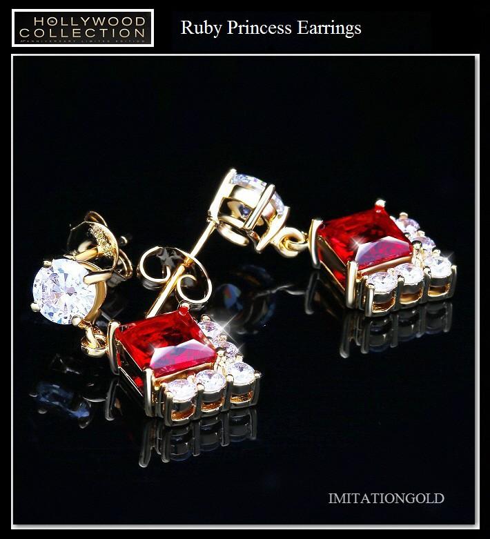 ルビー レッド 18金 プリンセス 揺れる ピアス アンジェリーナ ジョリー コレクション