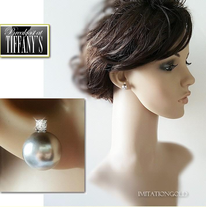 南洋シェルパール 黒真珠ピアス 10mm径 ブラックパール 「ティファニーで朝食を」 オードリーヘップバーンコレクション