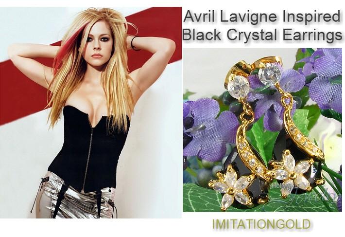 ブラッククリスタル フラワー18金揺れるピアス ティアドロップ アヴリル ラヴィーン ファッション