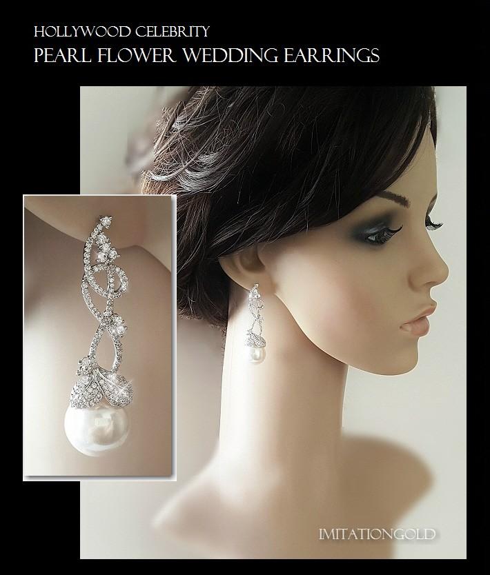 パール 真珠 フラワー ウエディング 揺れる ピアス|アールデコ|ビヨンセ コレクション