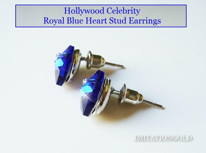 ロイヤル ブルー ハート ピアス|ダイヤモンド アクセント|ハリウッド セレブ コレクション