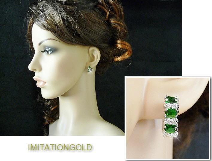 エメラルド ダイヤモンド フープピアス 16ミリ外径  ミラ クニス ファッション