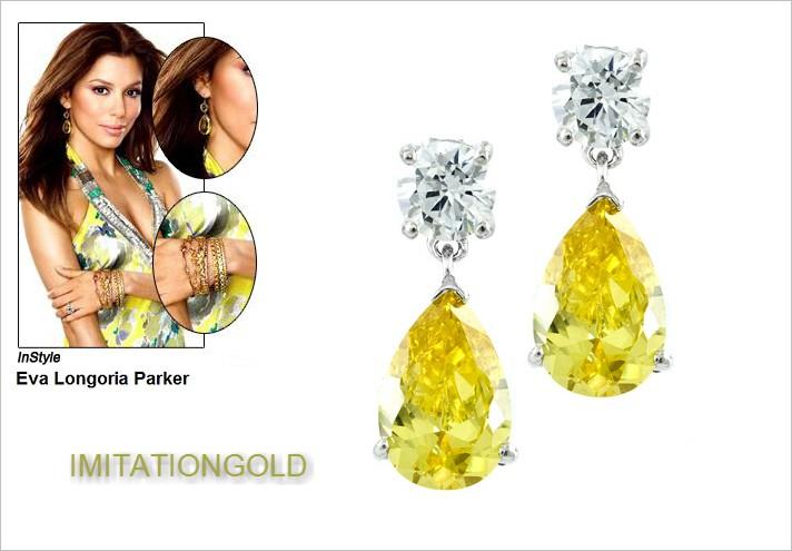 イエローダイヤモンド ティアドロップ 揺れるピアス|エバ・ロンゴリア ファッション