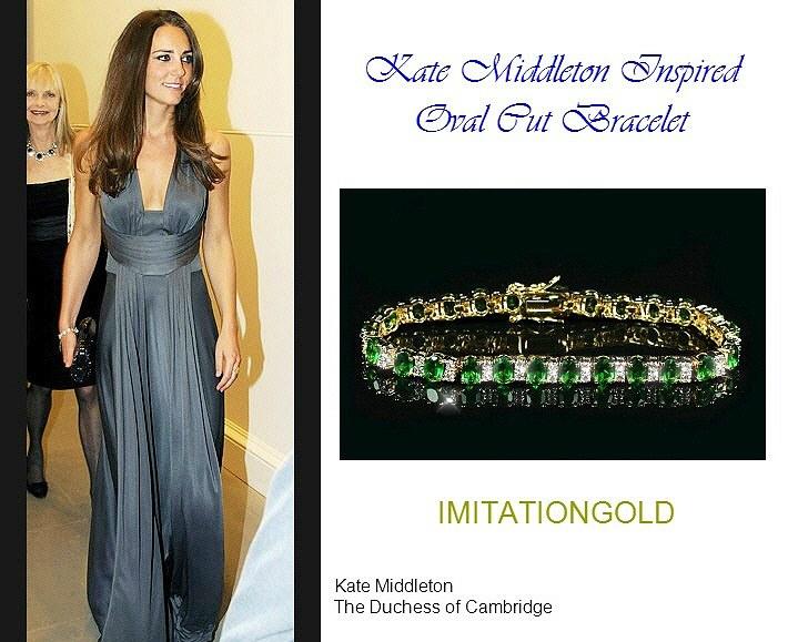 エメラルド ダイヤモンド 18金ゴールドブレスレット|キャサリン妃ロイヤルファッション