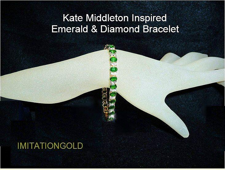 エメラルド ダイヤモンド 18金ゴールドブレスレット|ケイト ミドルトン ロイヤルファッション