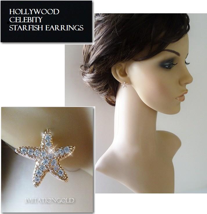ティファニースタイル スターフィッシュ(ヒトデ) パヴェ ダイヤモンド ピアス|ローズゴールド|リンジーローハン ファッション