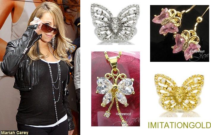 ピンクダイヤモンド バタフライネックレス|マライア・キャリー ファッション