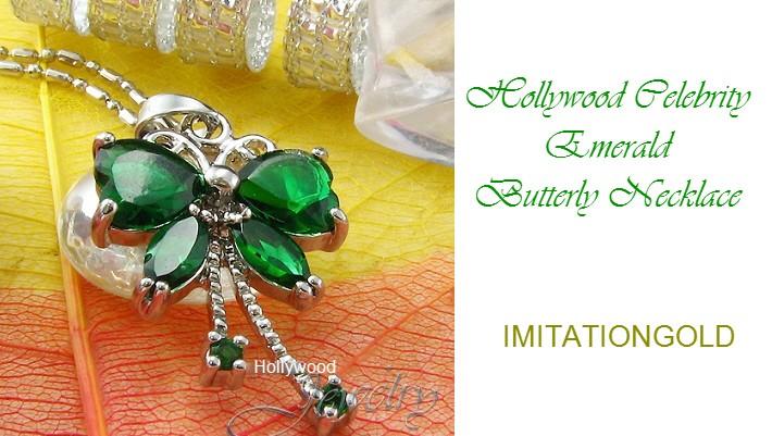 エメラルド バタフライネックレス|マライアキャリーファッション