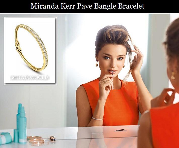パヴェ ダイヤモンド ゴールド バングル ブレスレット ミランダ カー コレクション