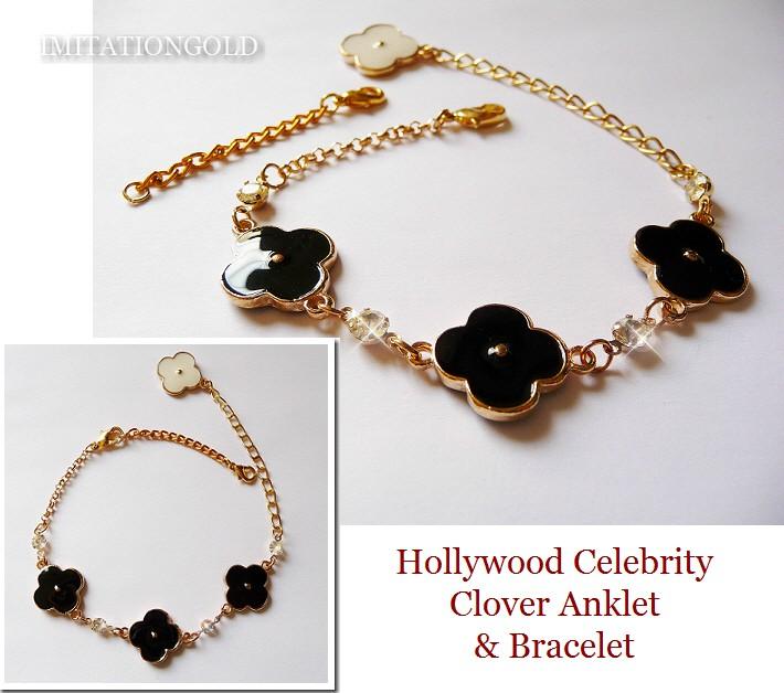 クローバー 18金 アンクレット ブレスレット|ブラック & ホワイト 四葉クローバー|ハリウッドセレブ コレクション