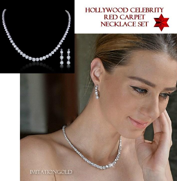ペネロペ・クルスのダイヤモンド ネックレス ダングルピアス セット