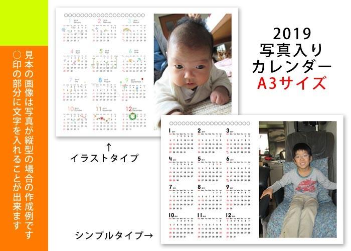 2019 写真入りカレンダー 1年タイプ A3サイズ 銀塩印画紙タイプ 無料