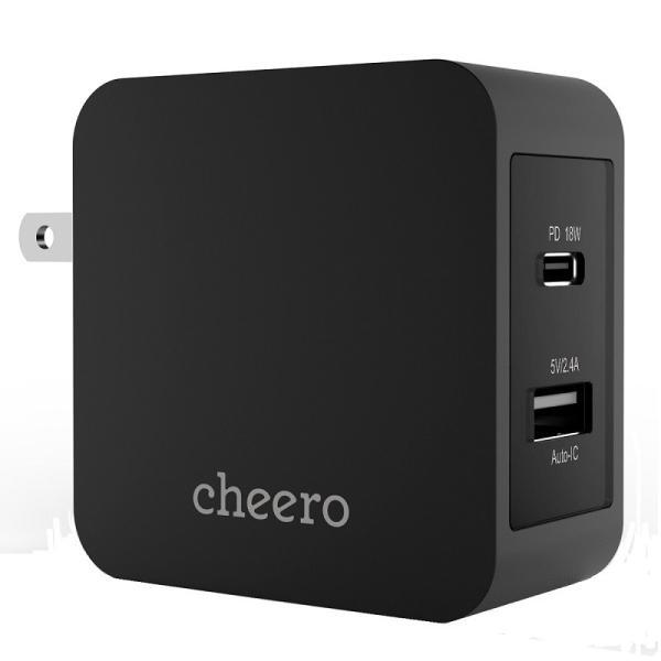 USB タイプC タイプA 2ポート アダプタ 充電器 パワーデリバリー 18W 合計 出力 30W チーロ cheero 2 port PD Charger 小型 高速充電 折り畳み式プラグ|cheeromart|09