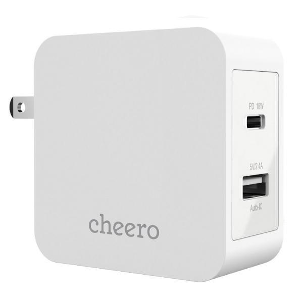 USB タイプC タイプA 2ポート アダプタ 充電器 パワーデリバリー 18W 合計 出力 30W チーロ cheero 2 port PD Charger 小型 高速充電 折り畳み式プラグ|cheeromart|11