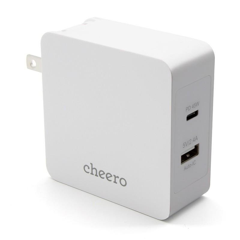 USB 充電器 タイプC タイプA 2ポート アダプタ パワーデリバリー 45W 合計 出 力 57W チーロ cheero 2 port PD Charger 小型 高速充電 折り畳み式プラグ|cheeromart|10