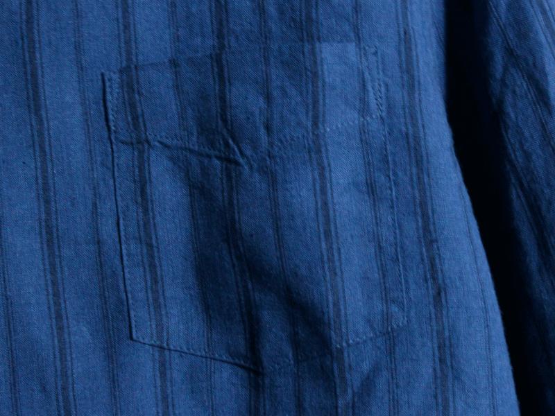 7分袖 ノーカラーシャツ