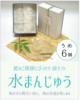 夏のご挨拶にぴったり 涼ギフト 水まんじゅう「水菓(すいか)」6個セット。何個でも食べてしまう食感。うめ
