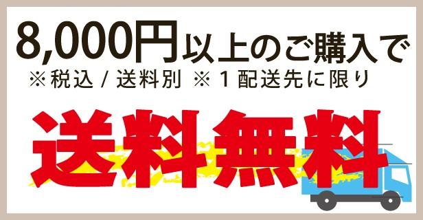 8,000円以上(税込、送料別)購入で送料無料!