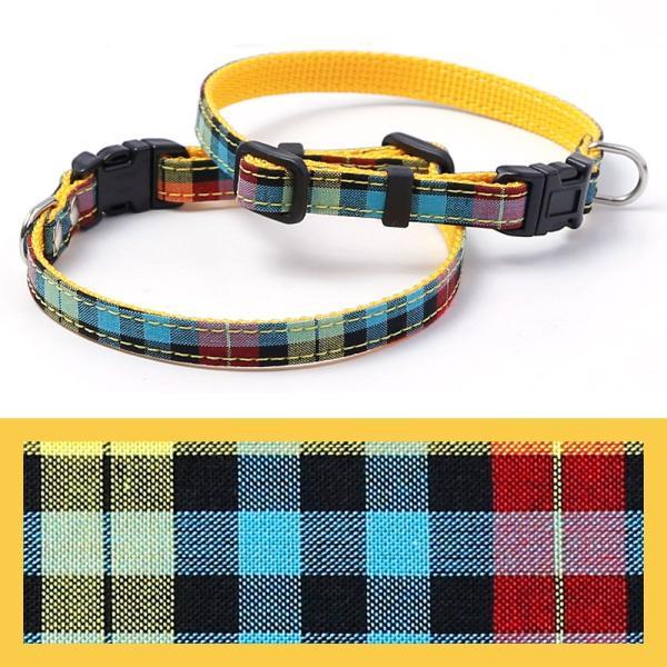 犬 首輪 犬の首輪 小型犬 ナイロン 軽量 ファブリック 生地 タータンチェック コットン 綿 おしゃれ かわいい カラー 10mm 名前入り|choupet|22