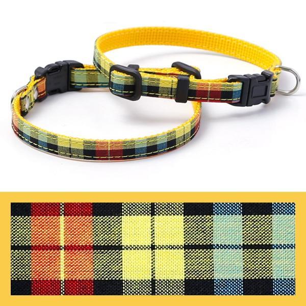 犬 首輪 犬の首輪 小型犬 ナイロン 軽量 ファブリック 生地 タータンチェック コットン 綿 おしゃれ かわいい カラー 10mm 名前入り|choupet|23