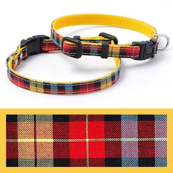犬 首輪 犬の首輪 小型犬 ナイロン 軽量 ファブリック 生地 タータンチェック コットン 綿 おしゃれ かわいい カラー 10mm 名前入り|choupet|24