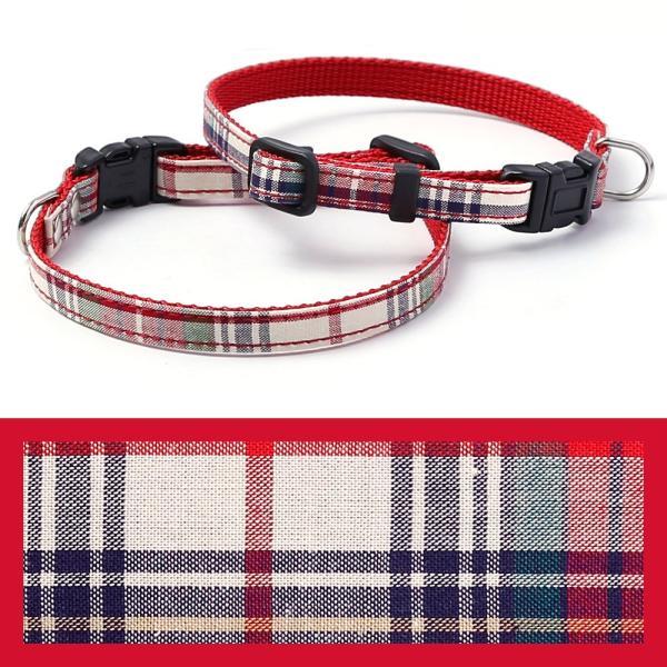 犬 首輪 犬の首輪 小型犬 ナイロン 軽量 ファブリック 生地 タータンチェック コットン 綿 おしゃれ かわいい カラー 10mm 名前入り|choupet|20