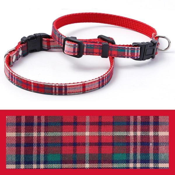 犬 首輪 犬の首輪 小型犬 ナイロン 軽量 ファブリック 生地 タータンチェック コットン 綿 おしゃれ かわいい カラー 10mm 名前入り|choupet|21