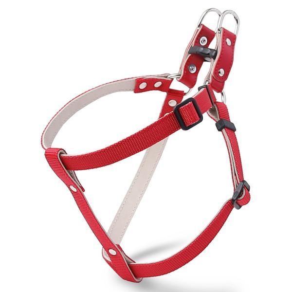 犬 ハーネス 犬のハーネス 胴輪 小型犬 中型犬 ナイロン 軽量 おしゃれ かわいい シンプル カラー リード 15mm 首輪|choupet|15