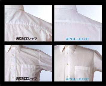 形態安定加工シャツ:シワ比較