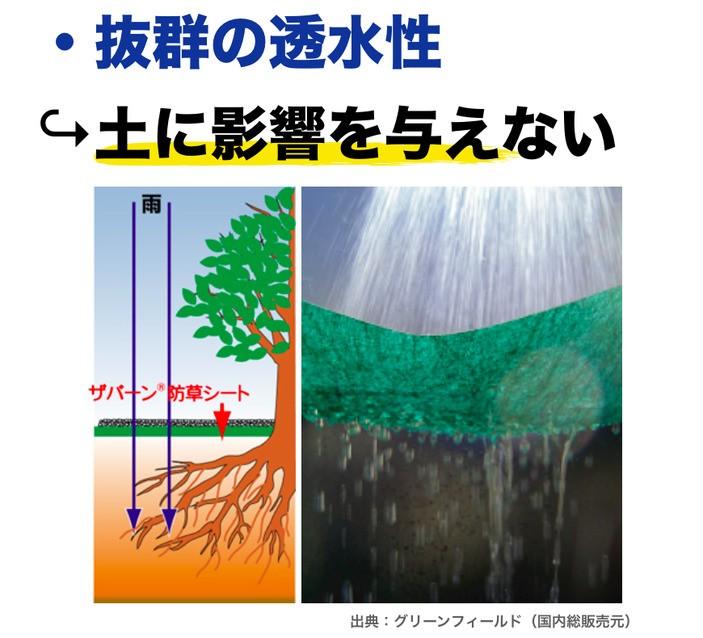 メリット 抜群の透水性で土に影響を与えない