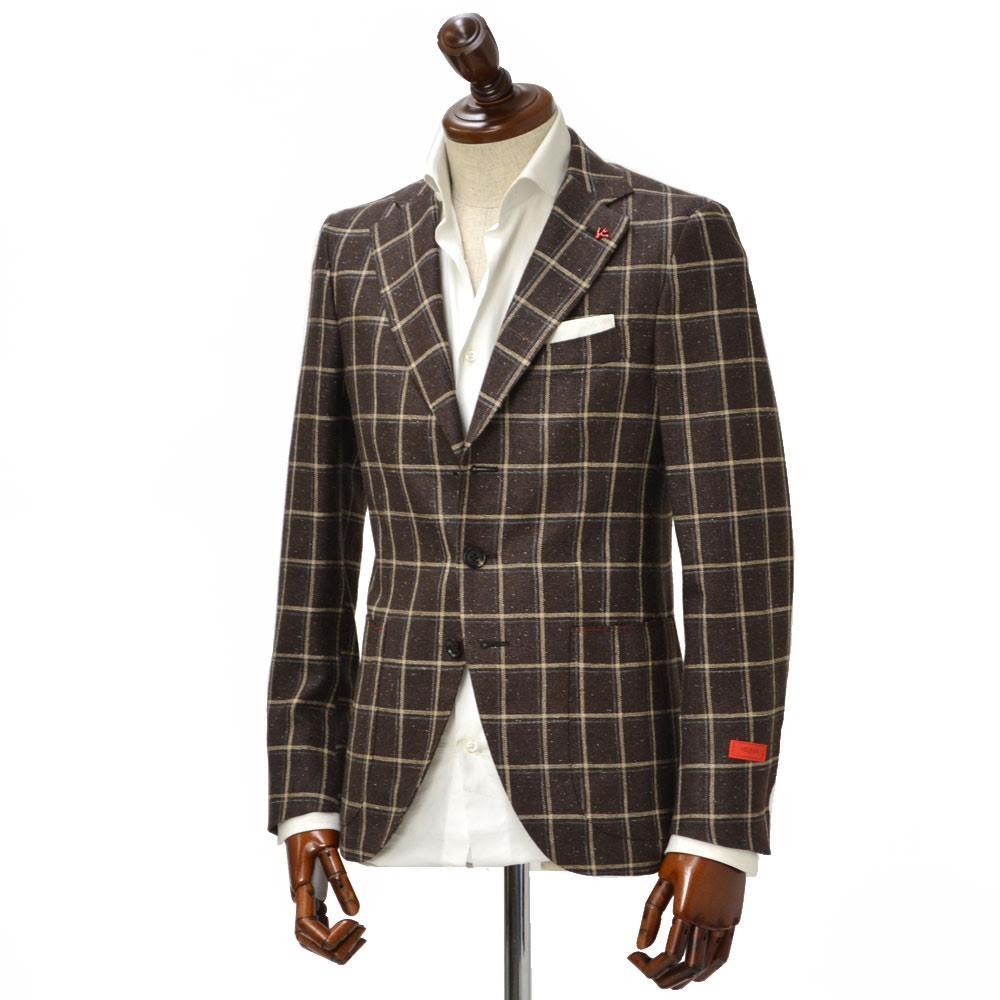 ISAIA【イザイア】 シングルジャケット 4289A 460 8C SAILOR セイラー シルク リネン ウール ウィンドペーン ブラウン×ベージュ