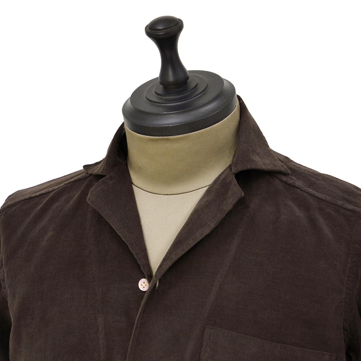 Bagutta【バグッタ】オープンカラーシャツ ALOHAK 08380 071 コットン コーデュロイ ダークブラウン