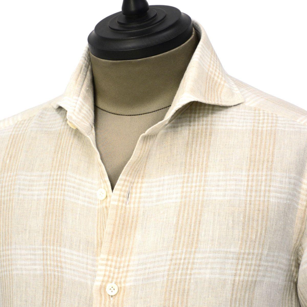 Giannetto【ジャンネット】カジュアルシャツ VINCI FIT AG88430V84 002 リネン チェック ベージュ