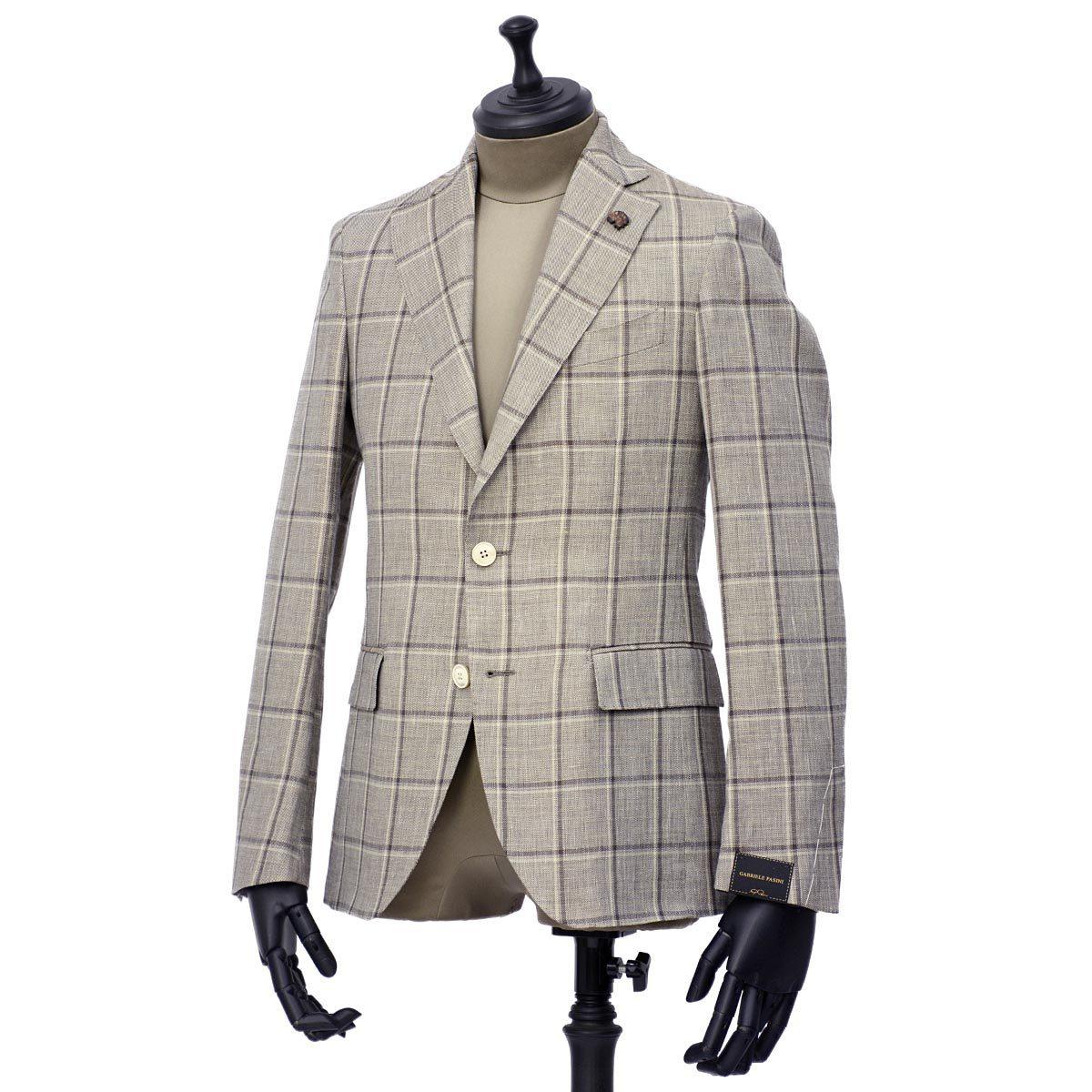 Gabriele Pasini【ガブリエレ パジーニ】シングルジャケット JG13065Q GF13476 28 リネン ウール ウィンドウペーン グレー ブラウン