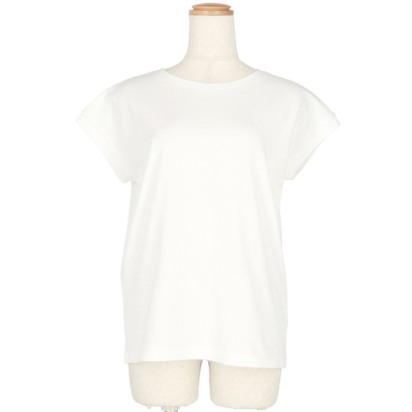 【一部予約】Tシャツ レディース コットン 綿100% カットソー 半袖 無地 薄手 シンプル フレンチスリーブ Uネック ベーシック ラウンドネック メール便可|cocacoca|11