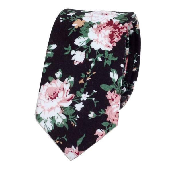 ナロータイ 花柄 ネクタイ スリム メンズ レディース スキニー フローラル コットンタイ 綿素材 マットな質感 15種 花見 バラ ローズ 大剣幅6cm|coconoco|21