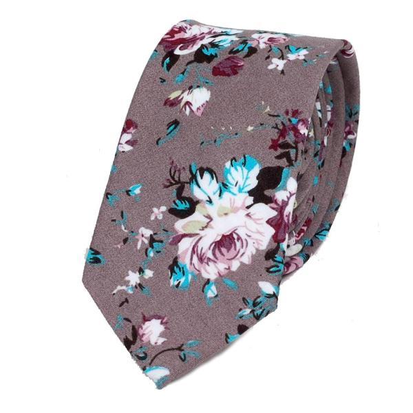 ナロータイ 花柄 ネクタイ スリム メンズ レディース スキニー フローラル コットンタイ 綿素材 マットな質感 15種 花見 バラ ローズ 大剣幅6cm|coconoco|24