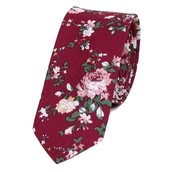 ナロータイ 花柄 ネクタイ スリム メンズ レディース スキニー フローラル コットンタイ 綿素材 マットな質感 15種 花見 バラ ローズ 大剣幅6cm|coconoco|26