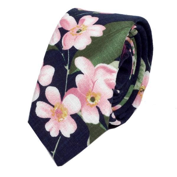 ナロータイ 花柄 ネクタイ スリム メンズ レディース スキニー フローラル コットンタイ 綿素材 マットな質感 15種 花見 バラ ローズ 大剣幅6cm|coconoco|28