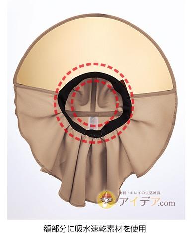 額部分に吸水速乾素材を使用