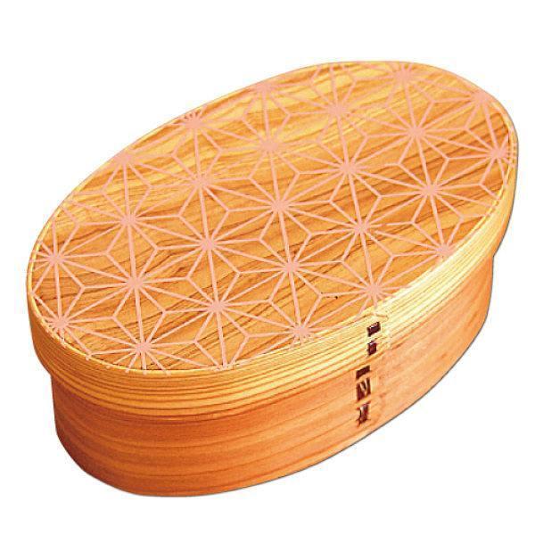 お弁当箱 曲げわっぱ 400ml 1段 小判 麻の葉 ウレタン塗装 ( 木製 ランチボックス 弁当箱 一段 わっぱ 和風 )|colorfulbox|20