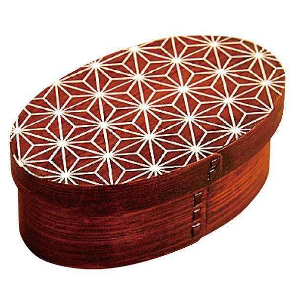お弁当箱 曲げわっぱ 400ml 1段 小判 麻の葉 漆塗 ( 木製 ランチボックス 弁当箱 一段 わっぱ 和風 )|colorfulbox|20